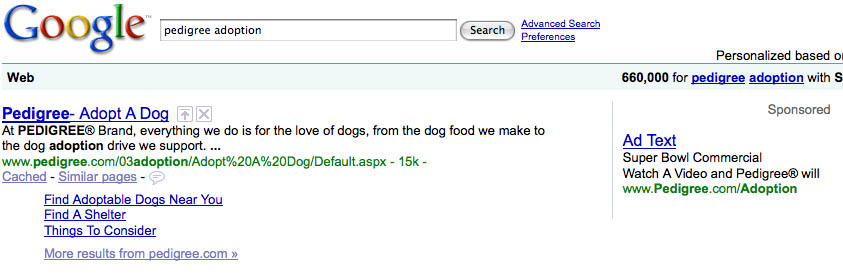 Pedigree Adwords Super Bowl